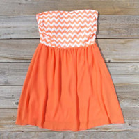 Chevrons & Chiffon Dress in Orange, Sweet Women's Bohemian Clothing
