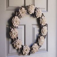Tea Dyed Paper Flower Wreath Paper Leaf Wreath