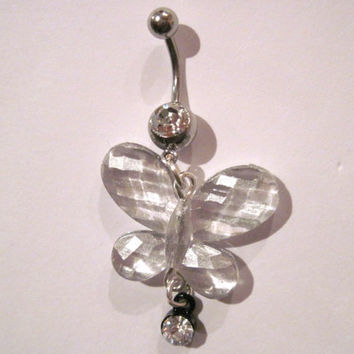 Belly Button Ring Barbell Very Lightweight Acrylic Butterfly Clear Rhinestones