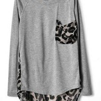 Grey Leopard Print Chiffon T-shirt
