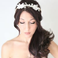 Wedding Flower Crown Crystals and Pearls Bridal Tiara  by deLoop