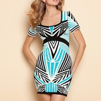 print bandage dress