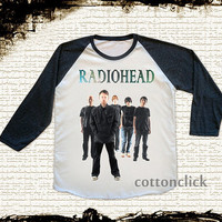 S, M, L -- RADIOHEAD Shirts Alternative Rock TShirts Baseball Tee Jersey Raglan Long Sleeve Unisex Shirts Women Shirts