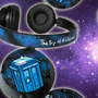 Doctor Who headphones earphones hand painted - galaxy - Tardis - Dalek - blue - purple