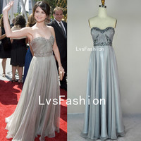 Strapless Sweetheart with Crystal Long Gray Prom Dress