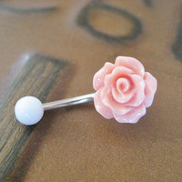 Rose Bud Belly Button Ring Coral Pink Flower by Azeetadesigns