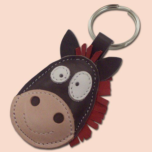 Cute little gray horse leather animal keychain by snis on Etsy
