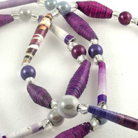 Purple Paper Bead Bracelet Trio by theotherstacey on Etsy