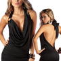 Deep Plunging Dress - Black Open Back Halter Style - Small: Clothing