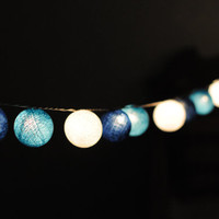 SALE SALE SALE    Shaded Blue cotton ball lantern string light patio garland deco room bedroom wedding patio party Beach balcony