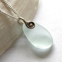 Sea Glass Necklace Pale Cyan  MILA