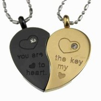 Lovers /Couple Gold & Black Tone Split Heart Pendant Set, Stainless Steel: Jewelry: Amazon.com