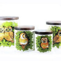 Vintage Owl Metal Canister Set With Wood Lids by atomicsugar