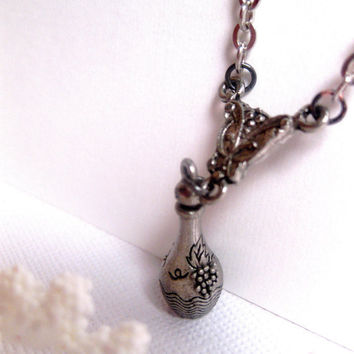 Wine Bottle Charm Necklace by FashionCrashJewelry on Etsy