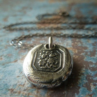 Victorian Flowers. Wax Seal Necklace. Wax Seal Jewelry in Fine Silver. Petite Mini Sweet Pendant