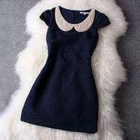 Blue Dress with Pearl Collar #106