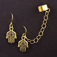 Hamsa Chain Ear Cuff Earrings Hamsa Hand Charm by AtelierYumi