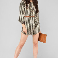 Zig Zag Dress in Black and Beige :: tobi