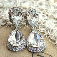 Emerald Chandelier earring statement Crystal earrings -  silver plated oxidized  real Swarovski crystals.