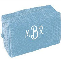 Monogrammed Waffle Weave Cosmetic Bag - Monogrammed Cosmetic Bags - Personalized Make Up Bags
