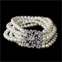 Pearl Bracelet with Crystal Brooch Accent - Charm Bracelets, Rhinestone Bracelets, Pearl Bracelets, Personalized Bracelets