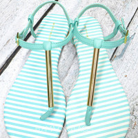 RESTOCKED! Country Club Mint & Gold Sandals