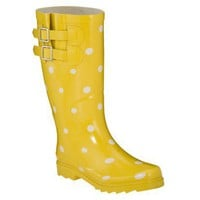 Womens Novel Dot Rain Boots - Yellow/White