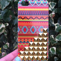 Orange Aztec Tribal Gold Pyramid Studded iPhone 4 4S Phone Case