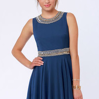 TFNC Hope Royal Blue Beaded Dress