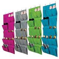 20 Pocket Over the Door Shoe Caddy - Vibrant Dorm Closet Organization Must Have Organizer College Dorm Living