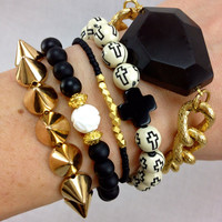 Black and White Boho Bracelet Set