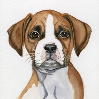 Dog Painting Boxer 5x8 Print from Original by Earthspalette