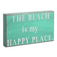"Amazon.com: ""The Beach is My Happy Place"" Aquamarine Decorative Sign: Home & Kitchen"