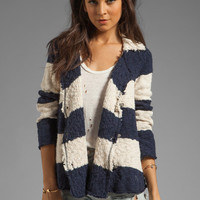 Free People Cotton Slub Jacket in Navy/Cream Combo from REVOLVEclothing.com