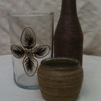 Twine Wrapped Bottles Vase Feather Design Set of 3 Centerpiece