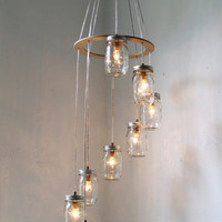 Spiral Carousel Mason Jar Chandelier Mason Jar Lighting Swag Lamp Handcrafted Upcycled BootsNGus Hanging Pendant Light Fixture