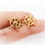 Ship wheel earrings - Captains wheel earrings - nautical stud earrings - brass steering wheel sterling silver posts - nautical beach jewelry