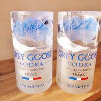 Drinking Glasses Set of Tumblers from Recycled Grey Goose Vodka Bottles Set of 2