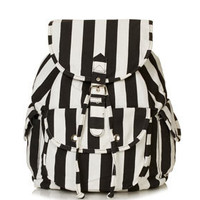 Stripe Denim Backpack - Bags & Wallets  - Bags & Accessories