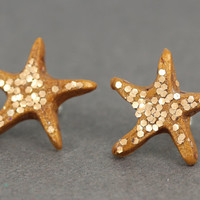 Starfish Studs  Copper Glitter Beach Studs Copper by ArtisanTree
