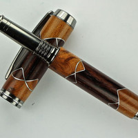 Handcrafted Wooden Pen Hand TurnedCocobolo and Thuya Burl Wood Aluminum Scallop accents Black Titanium Hardware 428P