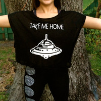 TAKE me HOME UFO Oversized Crop Tee