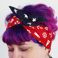Rockabilly Reversible Wired Bow Headband, Red Nautical and Dark Navy with White Stars