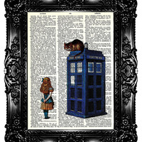 Alice in Wonderland &amp; Tardis Upcycled Book Recycled Art Print Upcycled Dictionary Page Vintage Book Print Police Box Buy 3 get 4th free