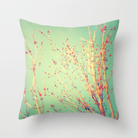 Spring Tree, Teal and Red plush pillow, throw pillow
