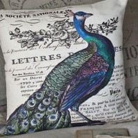 Pillow Coverpeacock pillow decorative cotton burlap by JolieMarche