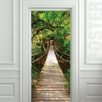 "GIANT Door STICKER rope bridge tropic forest poster, mural, decole, film 30x79"" (77x200 Cm): Home & Kitchen"