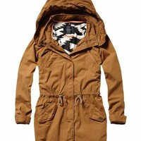 Parka with printed tribal lining