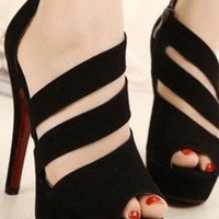 Ladies Fashion Cut Out Strap High Heel Ankle Shoes In BLACK from NaomiShu