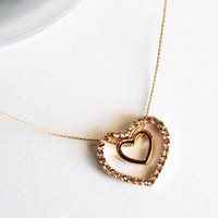 Gold diamond double heart pendant necklace